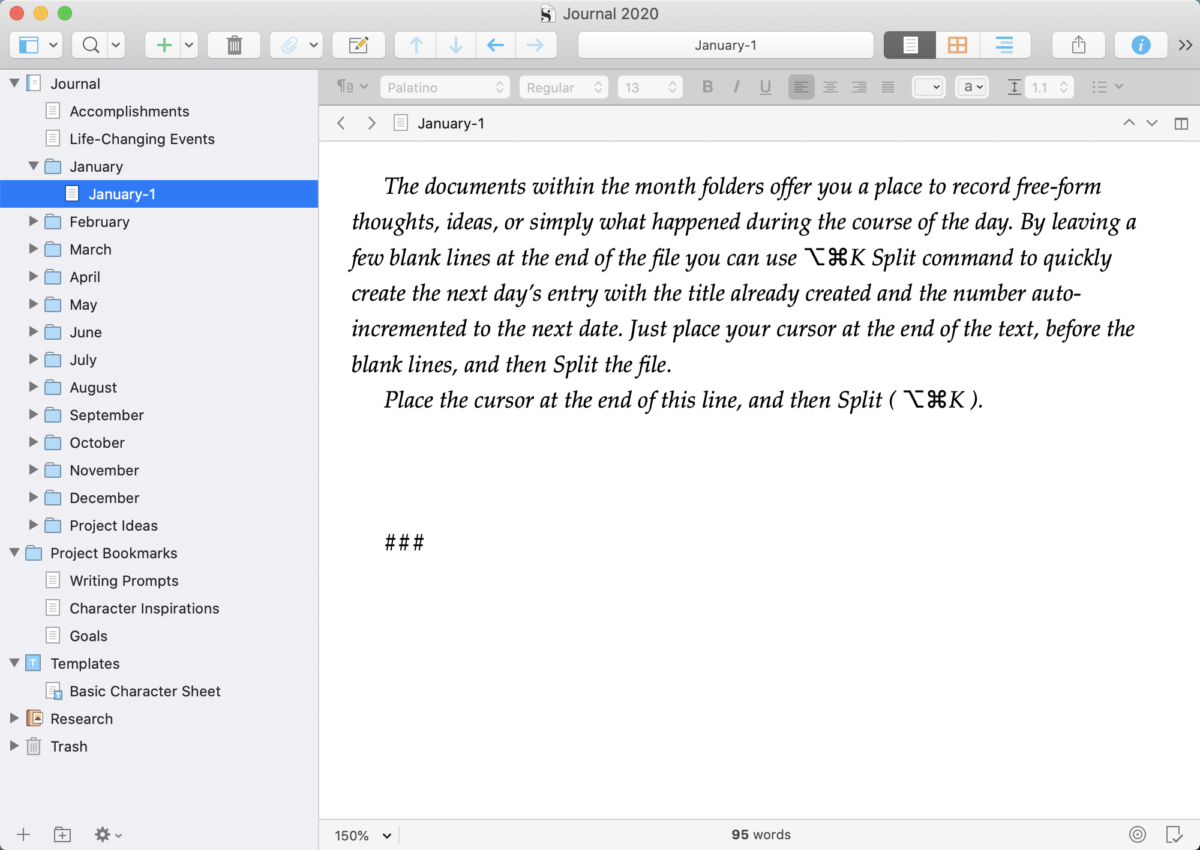 Blank Journal Template for Scrivener 3
